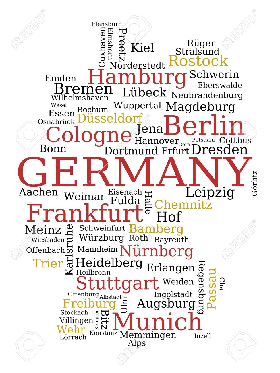 Germany Outline Map Made Of City Names German Concept Royalty