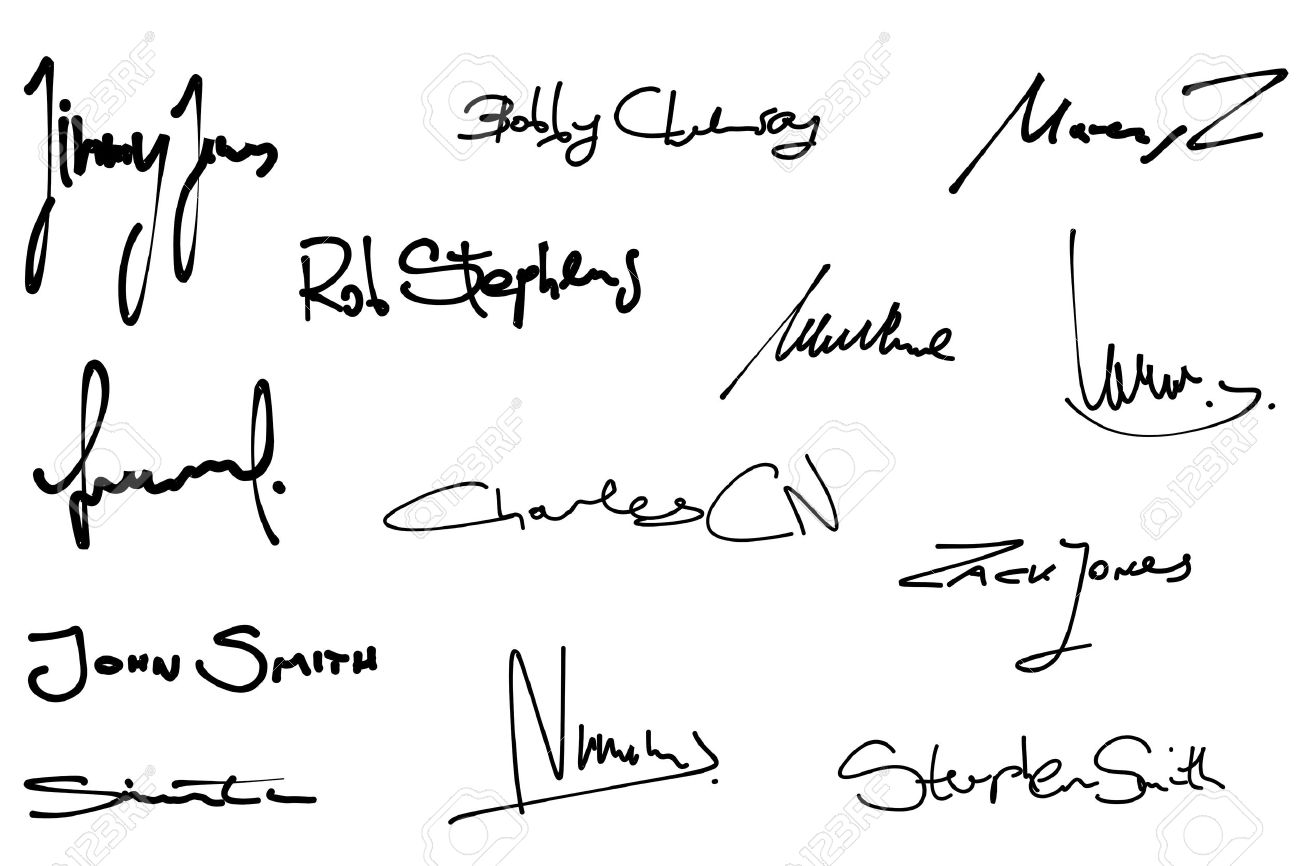 signature set collection of fictitious contract signatures business autograph illustration stock vector