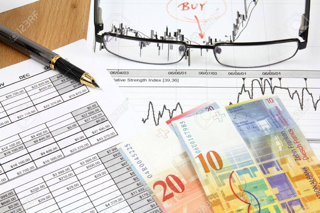 Business composition. Market analysis - income statement, finance graphs, Swiss frank money and a fountain pen. Stock Photo - 9754927