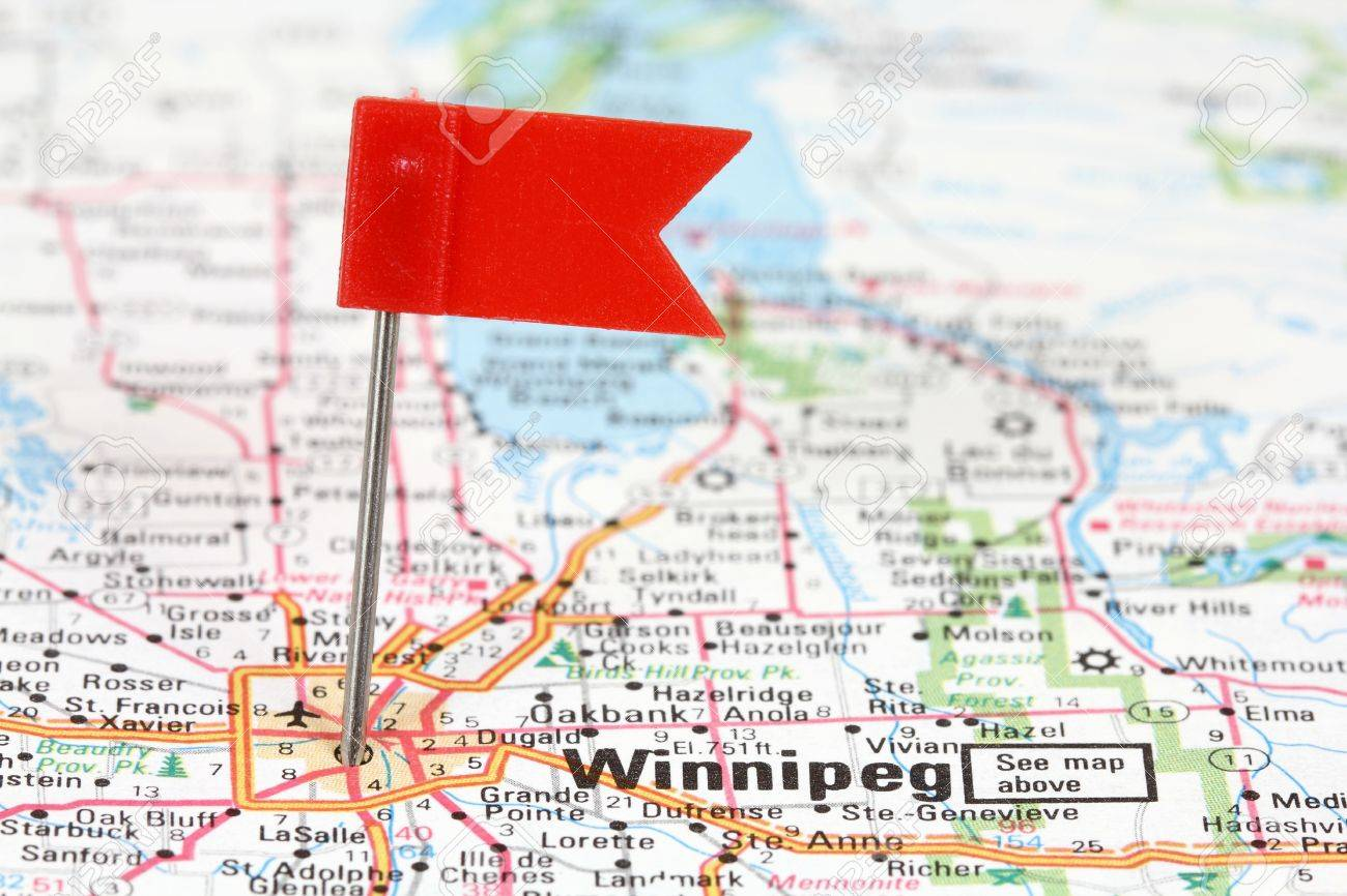 Winnipeg In Manitoba Canada Red Flag Pin On An Old Map Showing - Map of manitoba canada