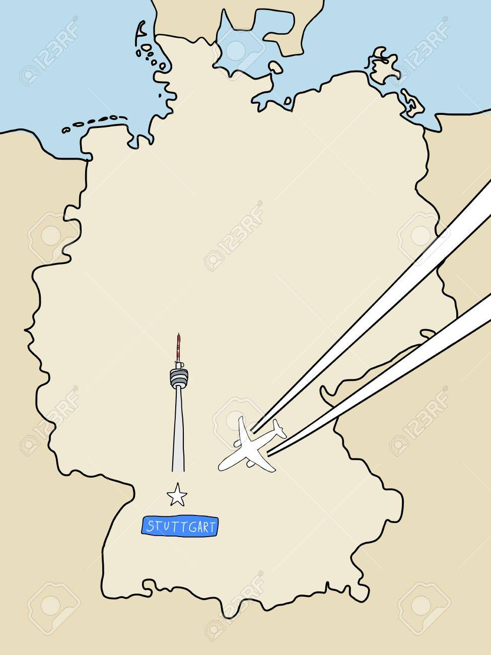 Cartina Germania Stoccarda.Vettoriale Visita Stoccarda Cartina Muta Della Germania E Un