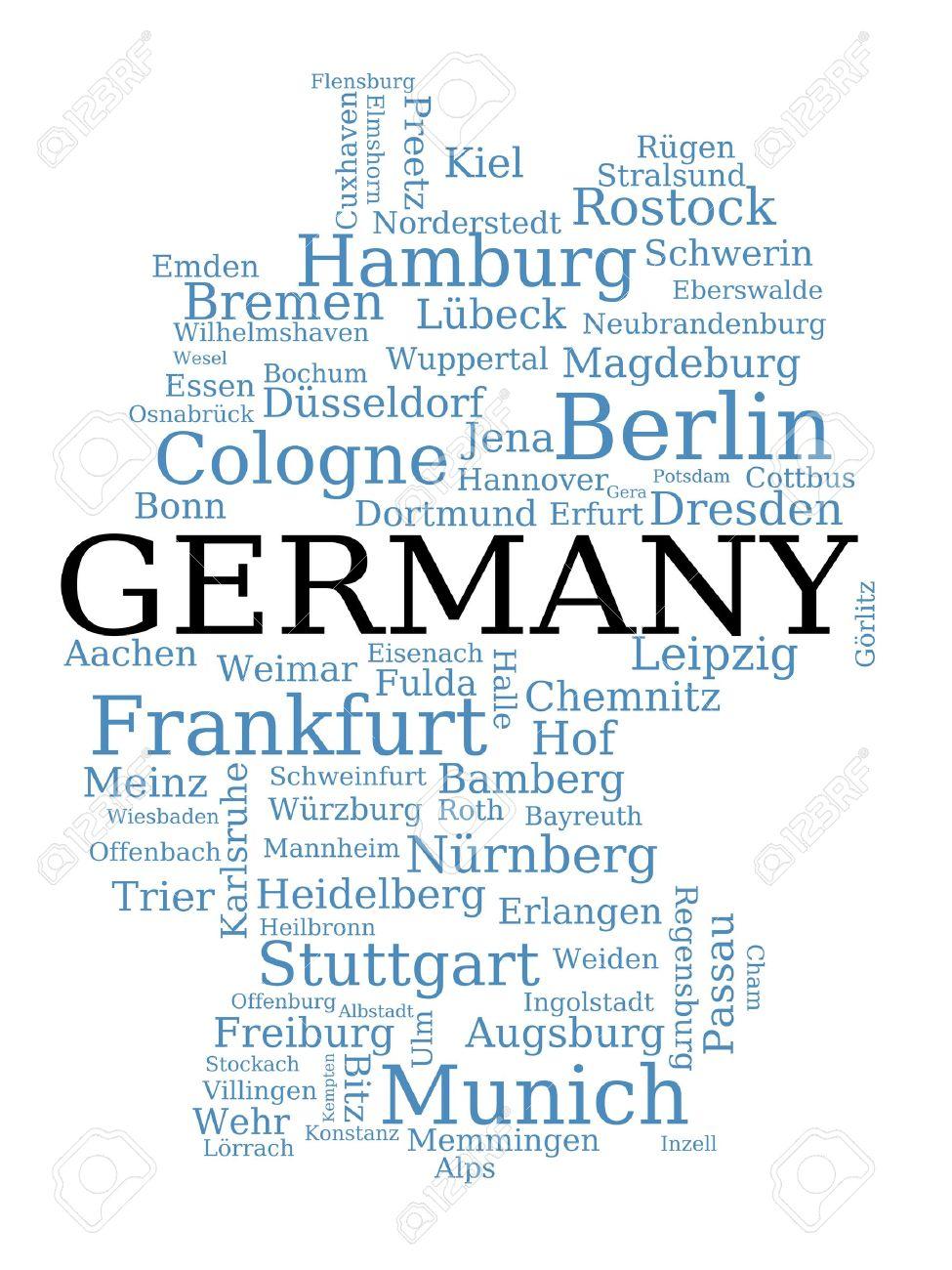 Cartina Muta Germania Con Fiumi.Vettoriale Germania Cartina Muta Fatta Di Nomi Di Citta Concetto Tedesco Image 10169610