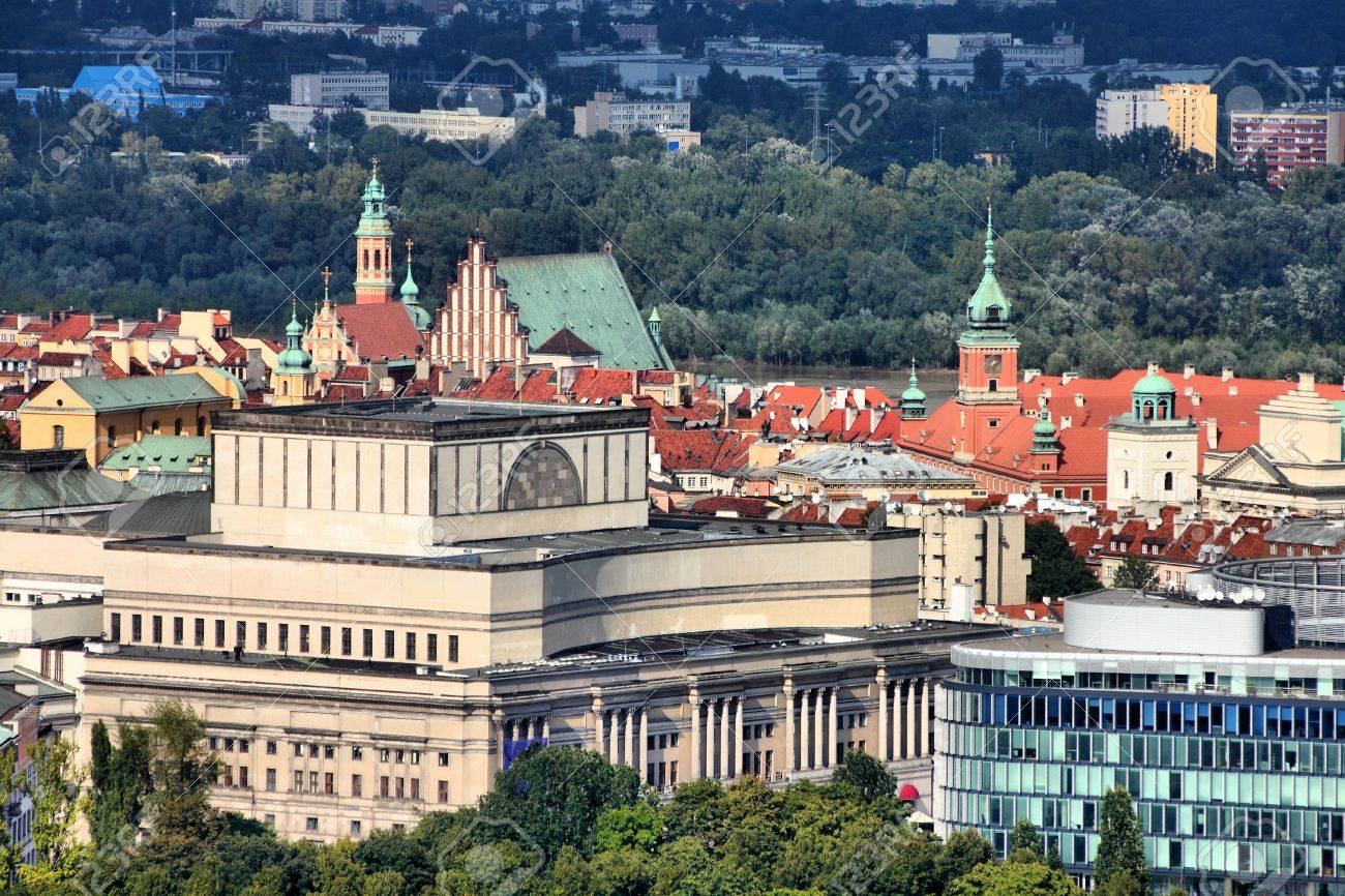 Warsaw, Poland. View towards the Old Town from famous Palace of Culture and Science, tallest building in Poland. Stock Photo - 10562549