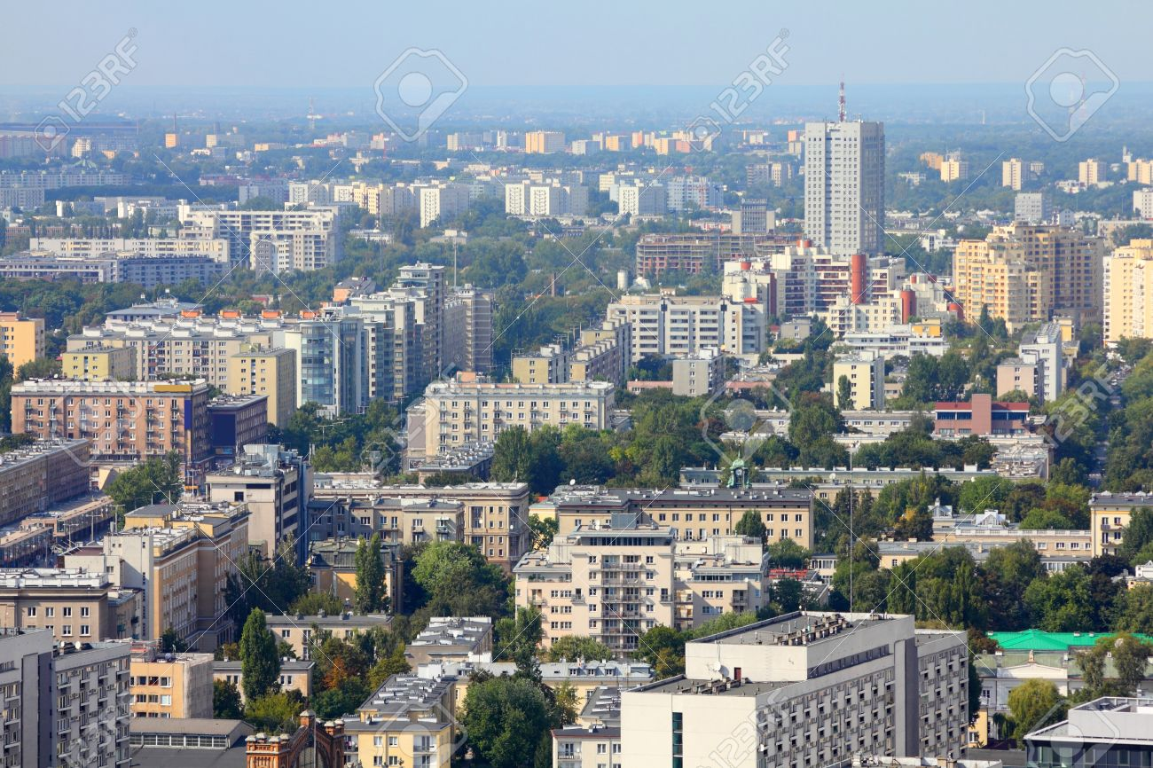 Warsaw, Poland. View of modern architecture from famous Palace of Culture and Science, tallest building in Poland. Stock Photo - 10562572