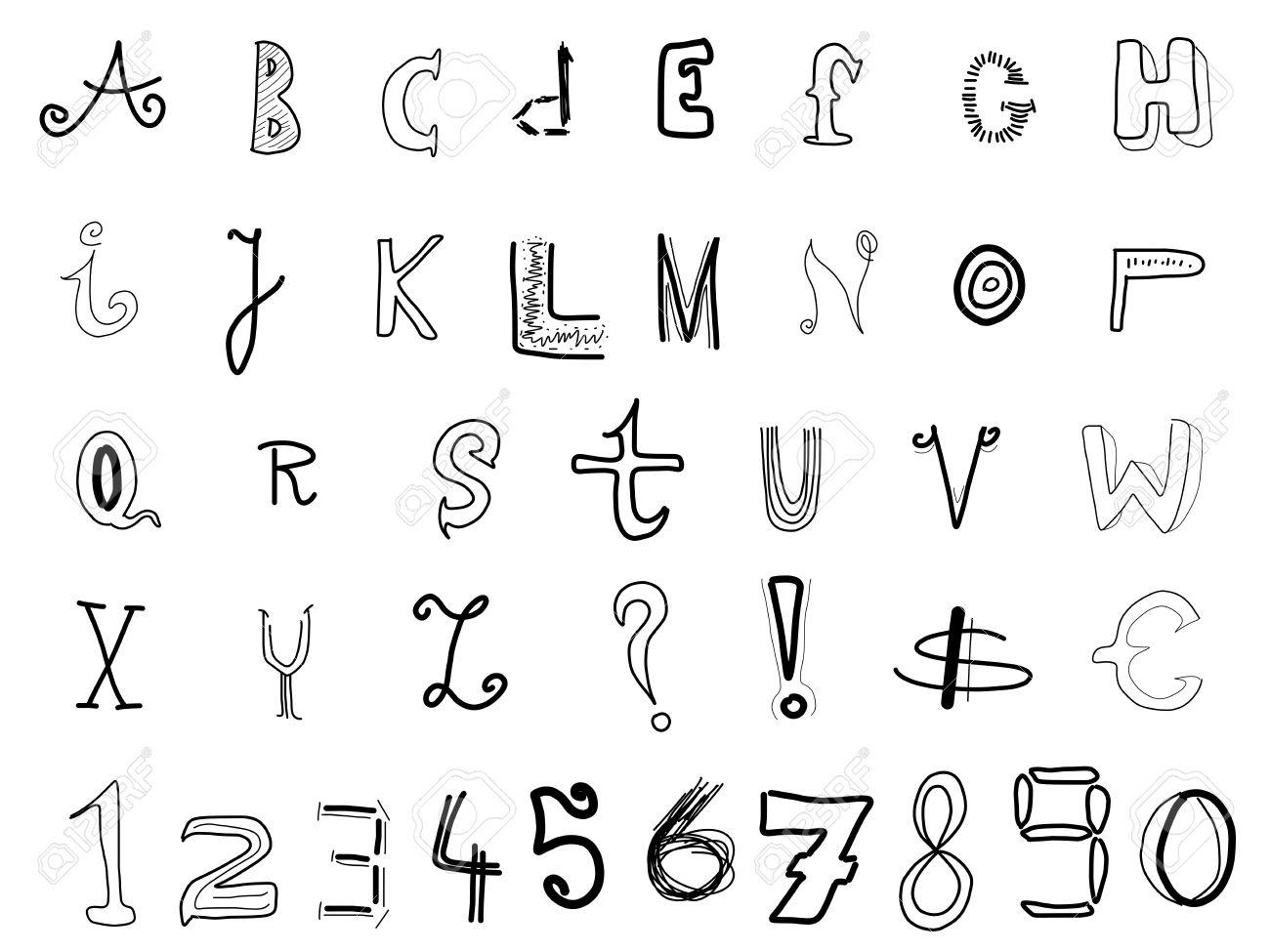 Hand written alphabet various doodle letters isolated on white hand written alphabet various doodle letters isolated on white background handwriting font illustration altavistaventures Image collections