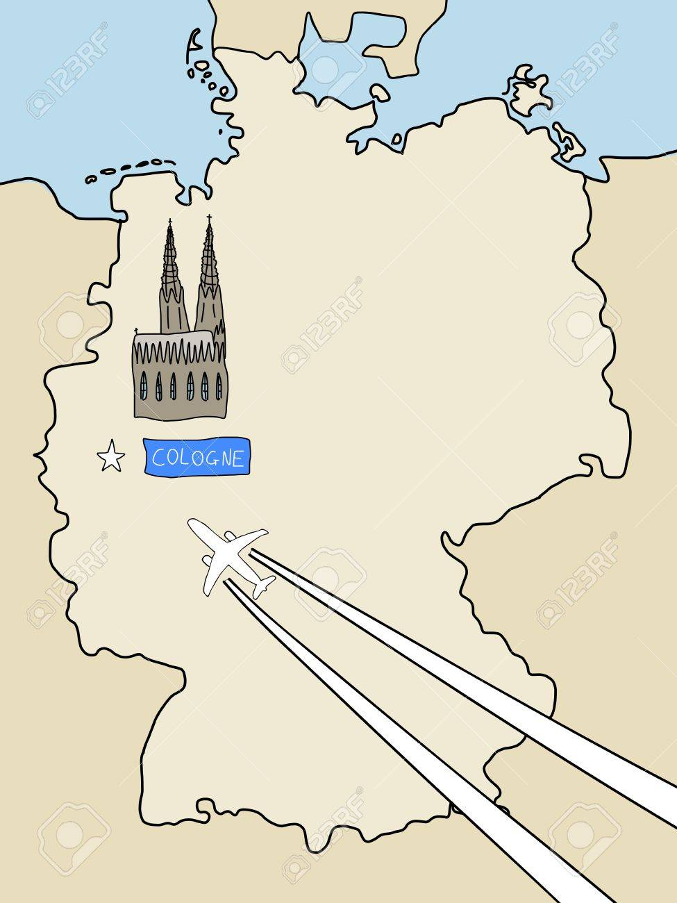 Germania Cartina Muta.Vettoriale Visita Colonia Cartina Muta Della Germania E Un Aereo Con Scie Citta Simbolo Concetto Di Viaggio Image 10600692