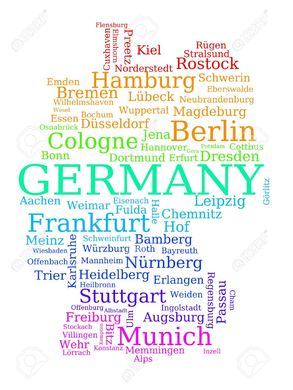 Map Of Germany Colorful Outline Made Of City Names German