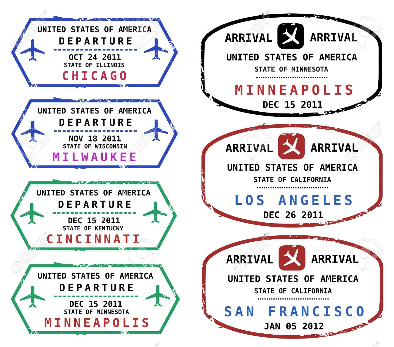 Travel stamps from USA. Grungy scalable stamps (not real). USA destinations: Chicago, Milwaukee, Cincinnati, Minneapolis, Los Angeles and San Francisco. Stock Vector - 10600695
