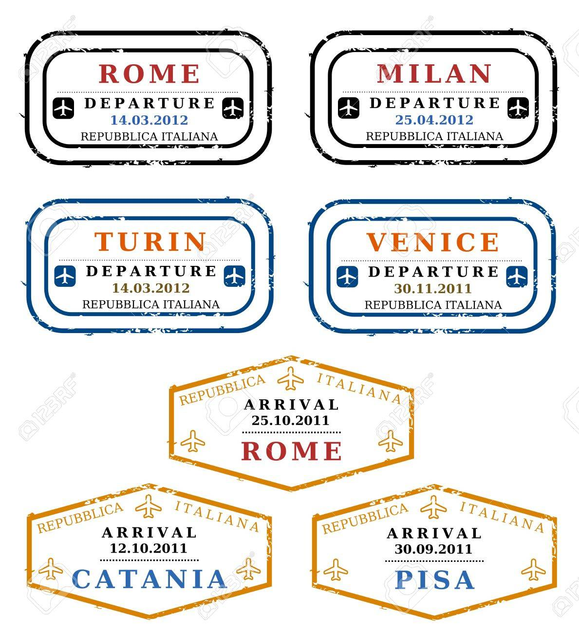 Travel stamps from Italy. Grungy scalable stamps (not real). Italian destinations: Rome, Milan, Turin, Venice, Catania and Pisa. Stock Vector - 10600686