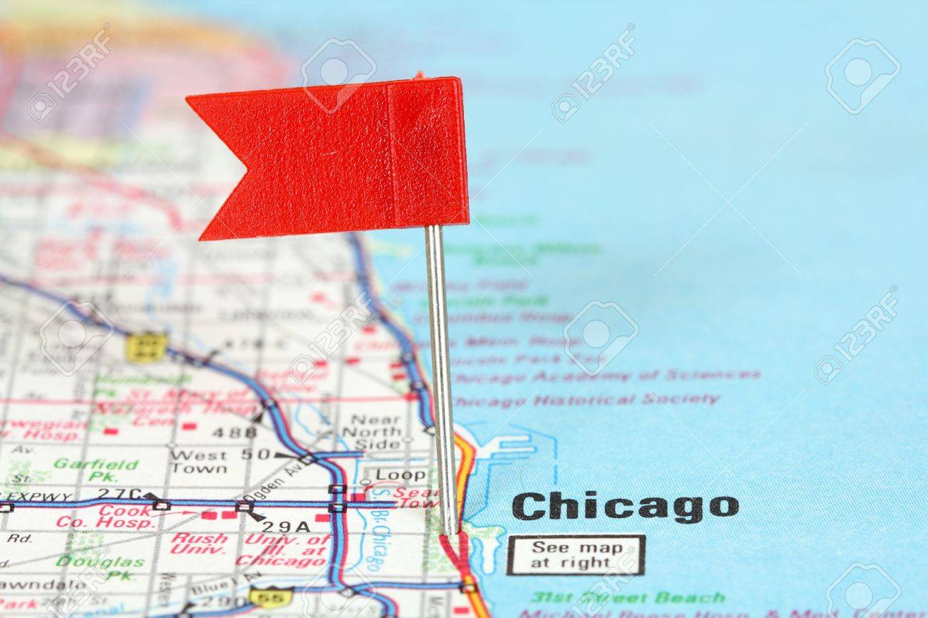 Chicago Illinois Red Flag Pin On An Old Map Showing Travel – Chicago Travel Map