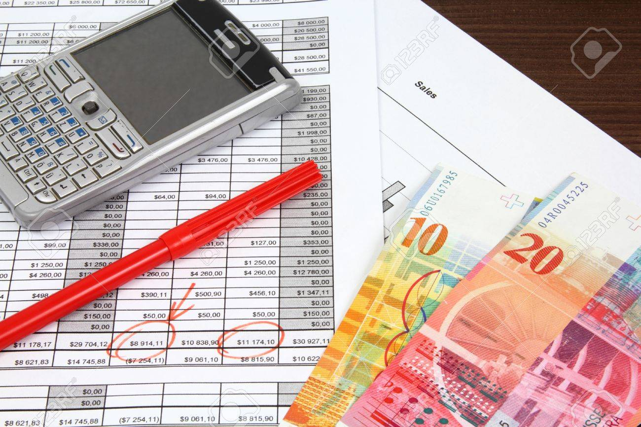 Business objects. Financial analysis - income statement, finance graphs, generic smart phone and Swiss franc currency. Stock Photo - 10686825