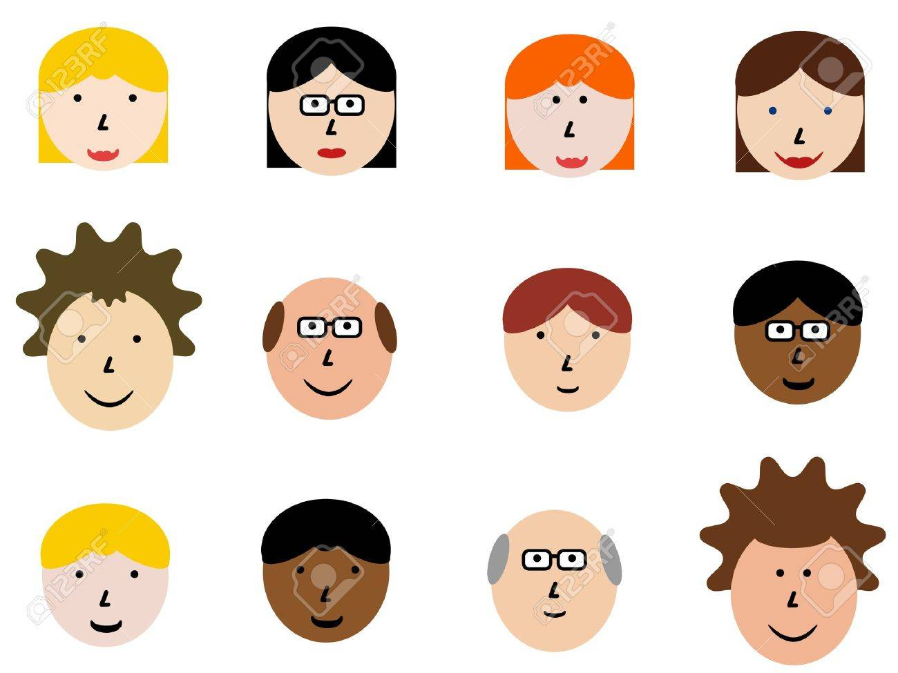 Face icon set - group of face emotions and diverse people group. Design element illustration - simple heads collection. Stock Vector - 10725451