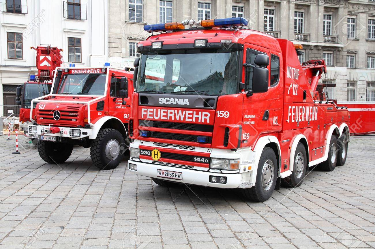 VIENNA - SEPTEMBER 8: Fire fighting vehicles on September 8, 2011 in Vienna. On September 9-11, 2011 Feuerwehrfest (Fire Fighters Festival) took place in Vienna. Stock Photo - 10807609