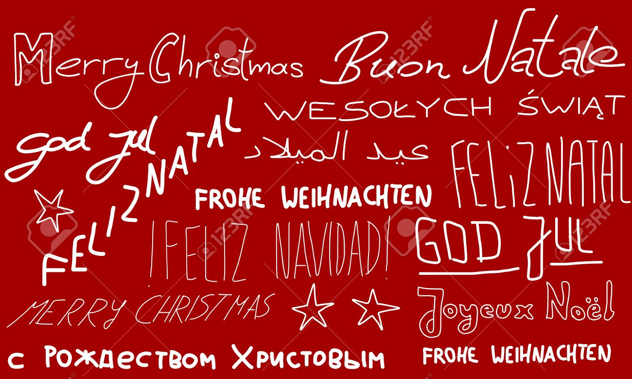 Merry christmas holiday wishes doodle in multiple languages merry christmas holiday wishes doodle in multiple languages christmas background stok fotoraf m4hsunfo