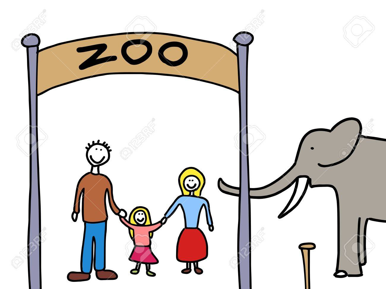 Happy family: mother, father and child. Weekend visit to the zoo. Child-like illustration. Stock Vector - 10990640