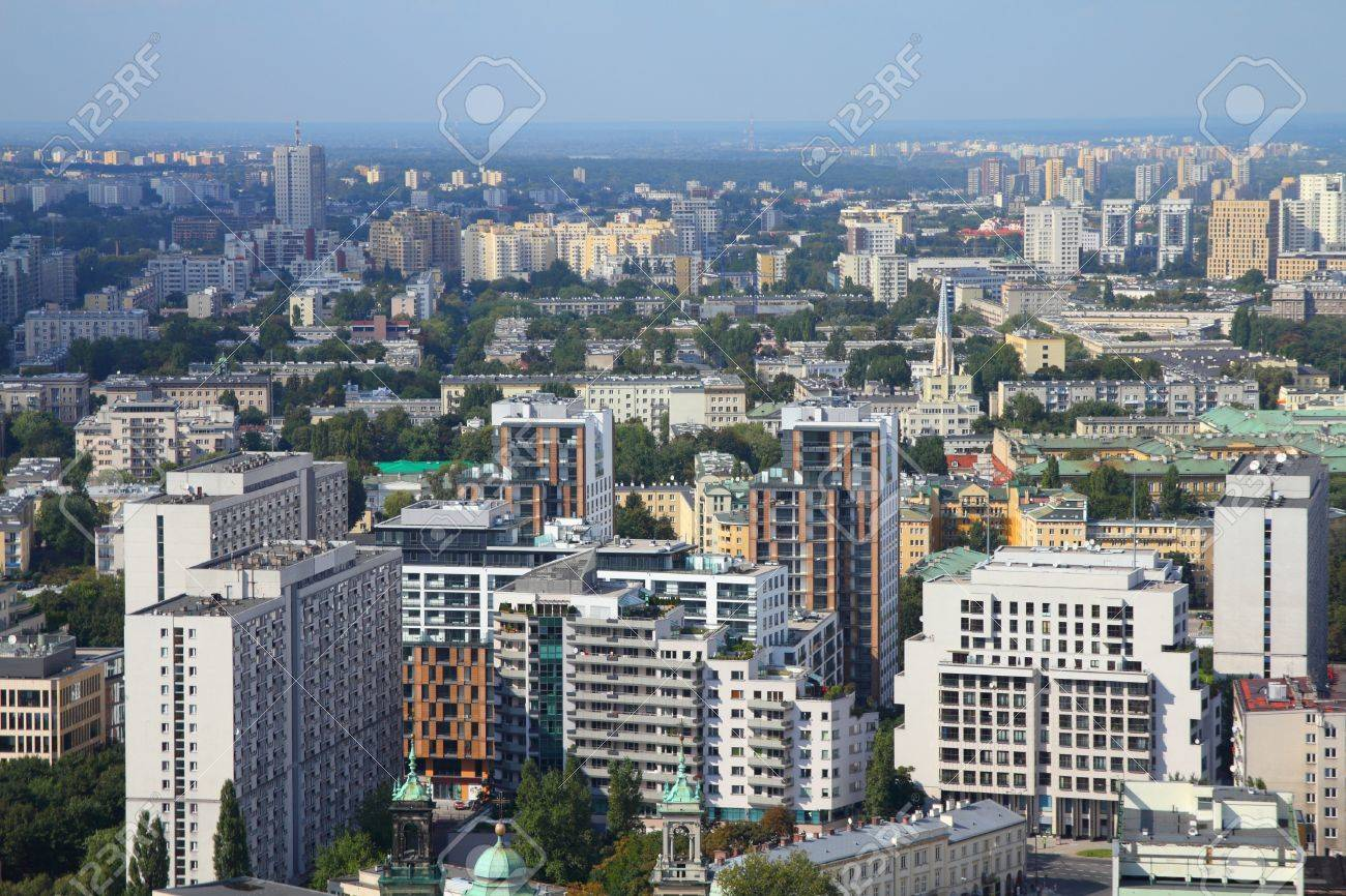 Warsaw, Poland. View of skyscrapers and older architecture from famous Palace of Culture and Science, tallest building in Poland. Stock Photo - 11192214