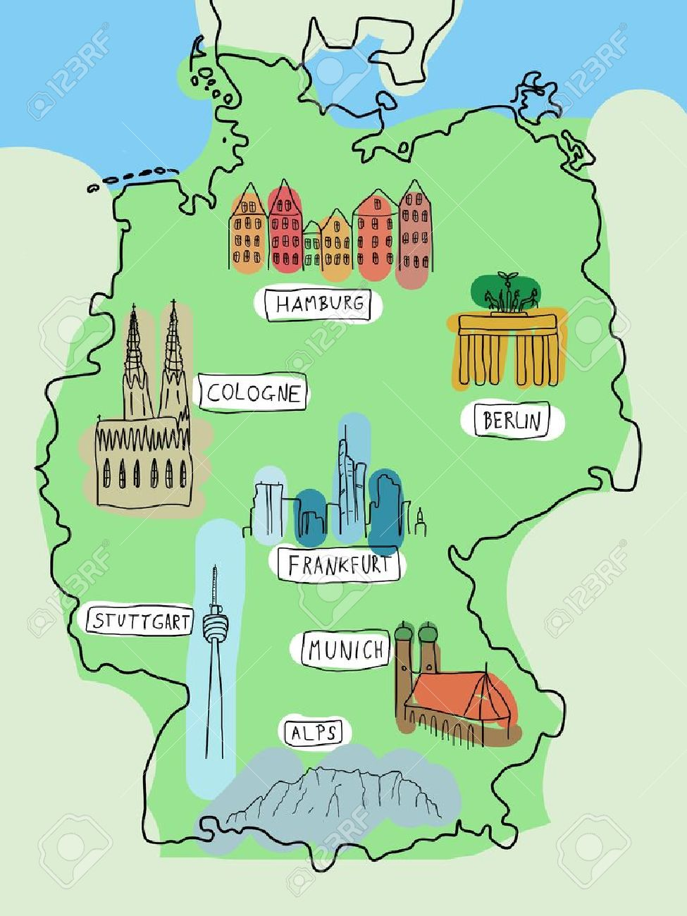 Cologne On Map Of Germany.Germany Doodle Map With Famous Places Berlin Hamburg Cologne