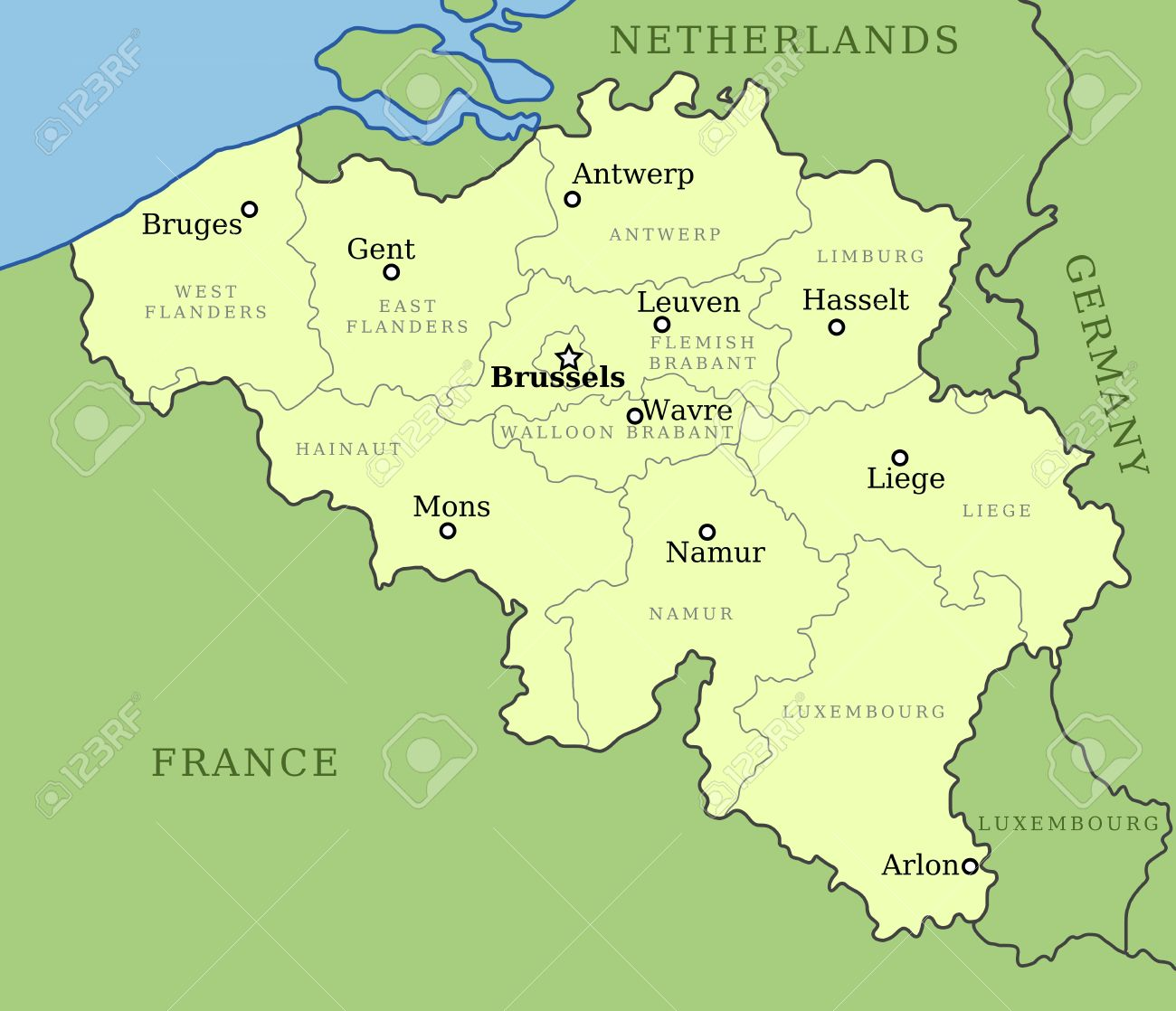 Belgium Map With Administrative Division Into Provinces Brussels - Brussels belgium map