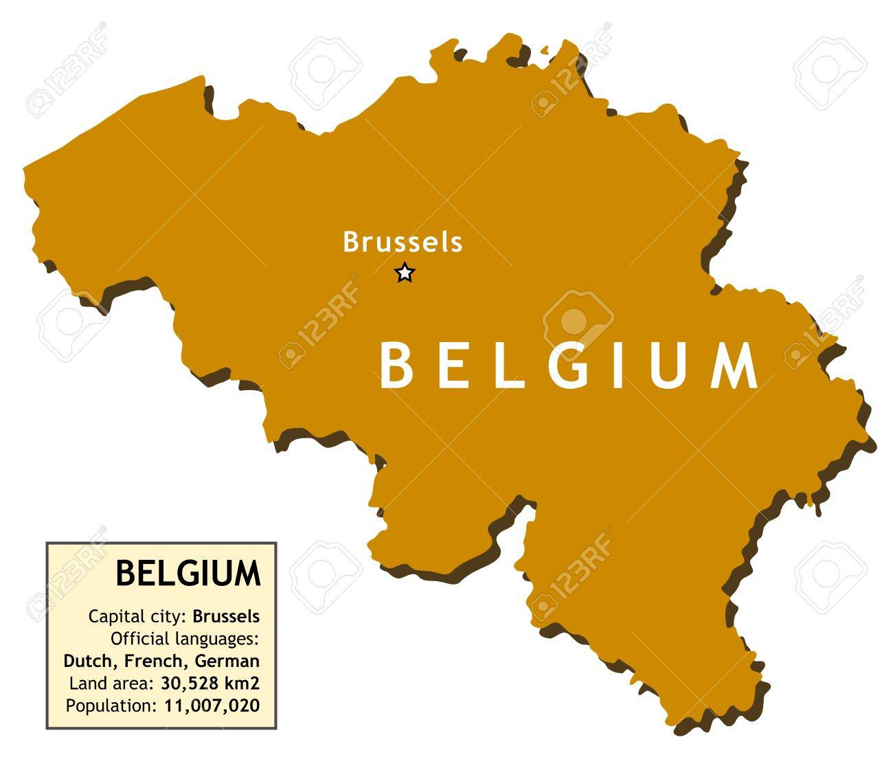 Map Of Belgium With Country Information Data Table Royalty Free