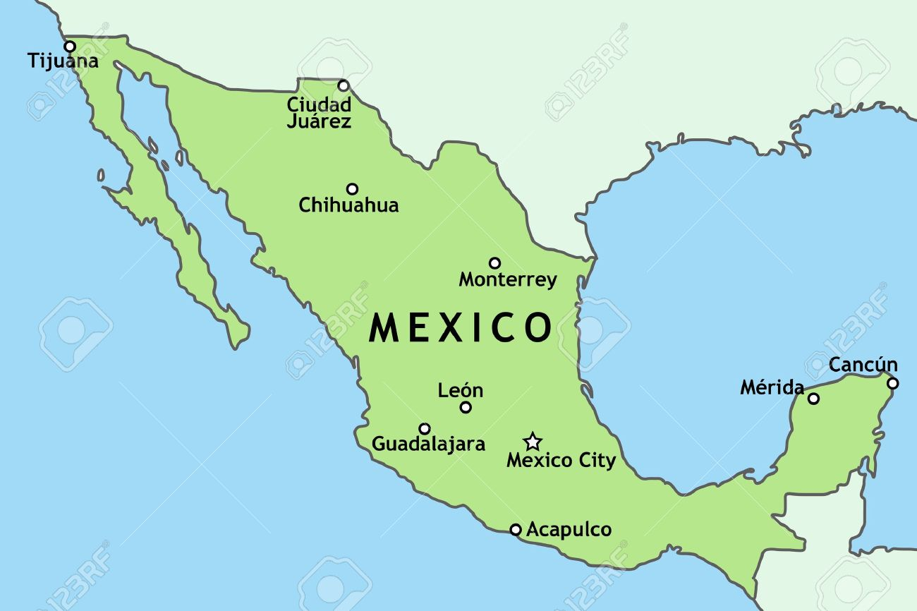 Mexico Map With Major Mexican Cities Mexico City Guadalajara – Mexico in the Map