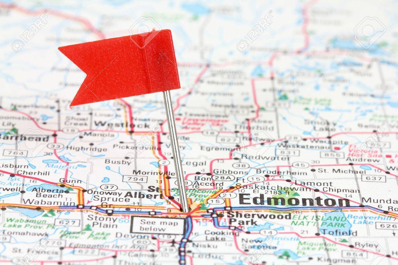 Edmonton In Alberta Canada Red Flag Pin On An Old Map Showing – Map Showing Canada