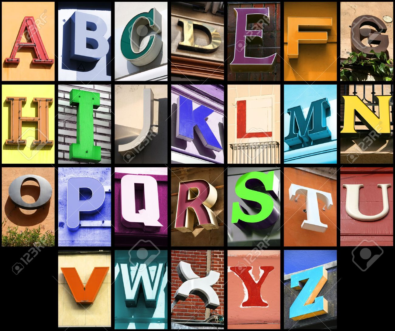 City ABC - Alphabet Collage. Colorful Letters Font From Urban ...