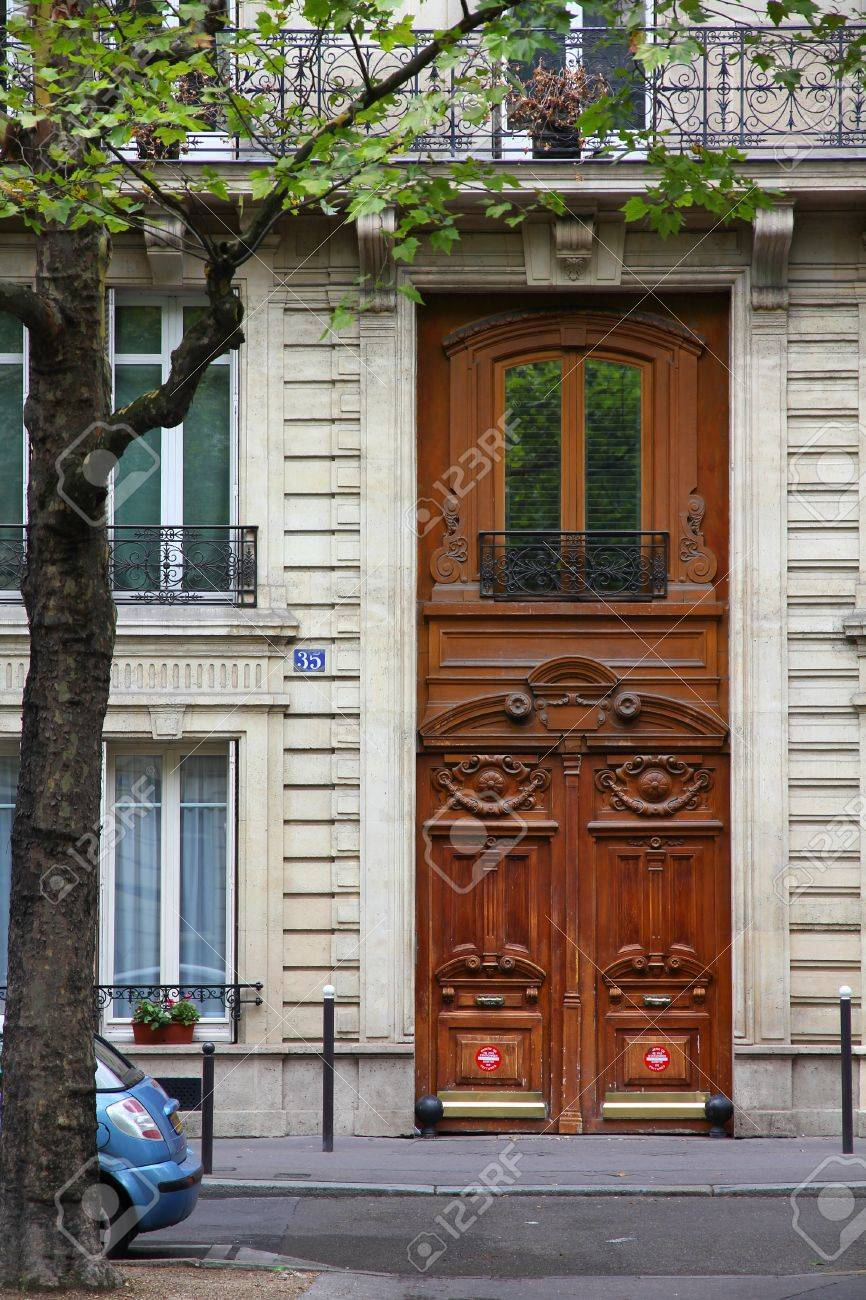 Paris France Typical Old Apartment Building Street View Stock