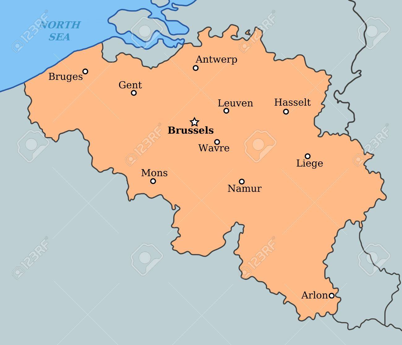 Map Of Belgium With Major Cities Brussels Bruges Antwerp – Map of Belgium with Cities