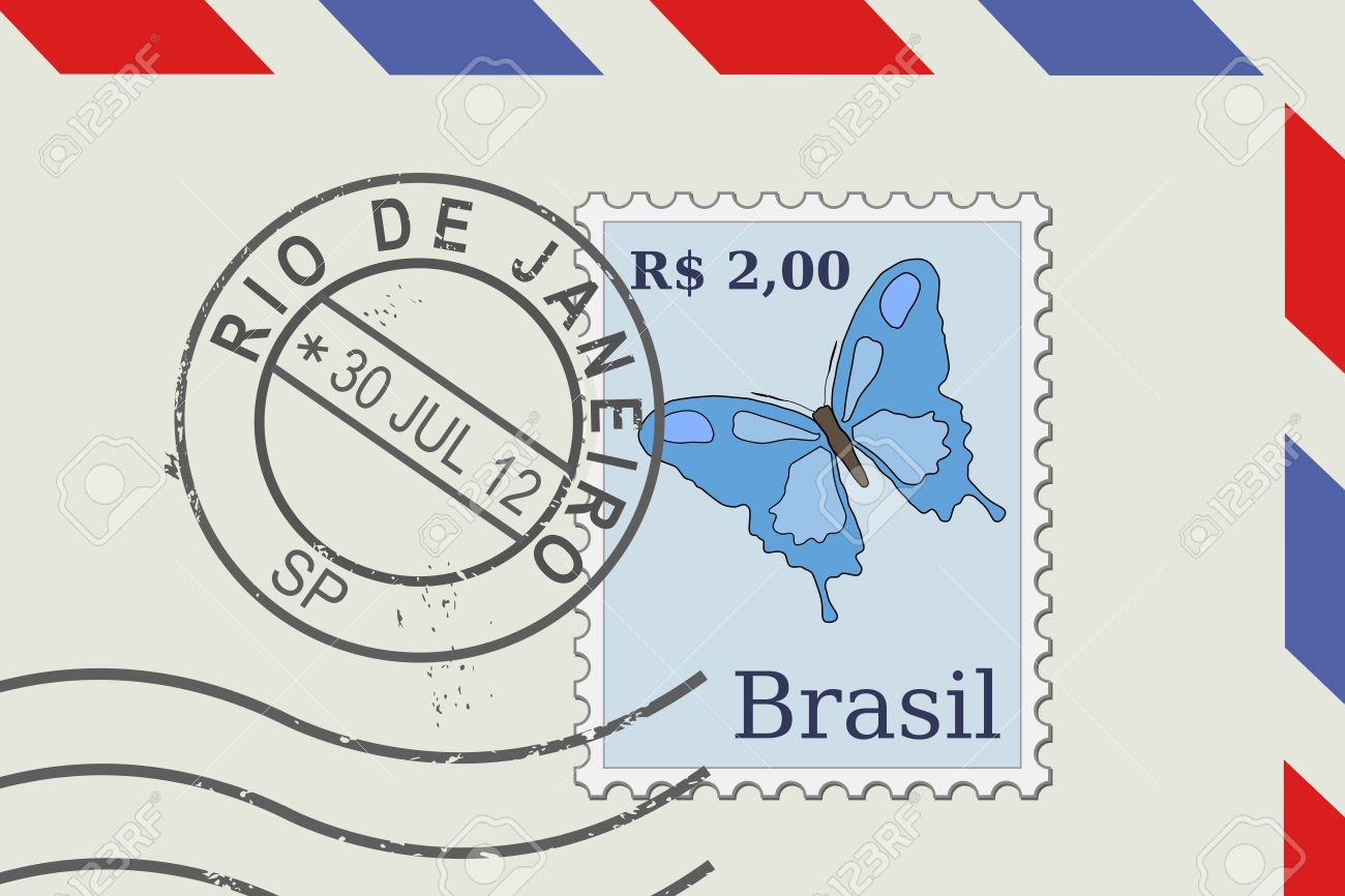 letter from brazil postage stamp and post mark from rio de janeiro brazilian mail