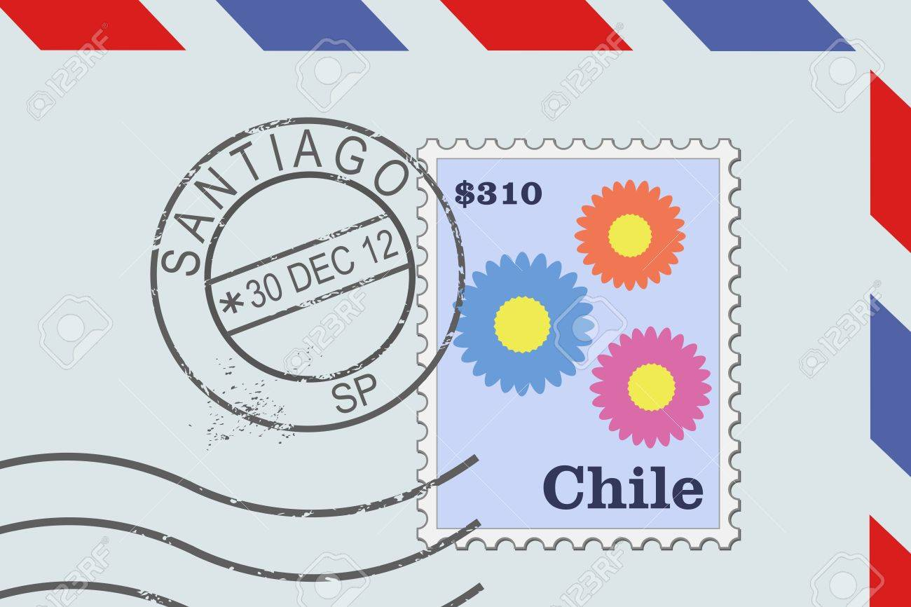 letter from chile postage stamp and post mark from santiago chilean mail stock