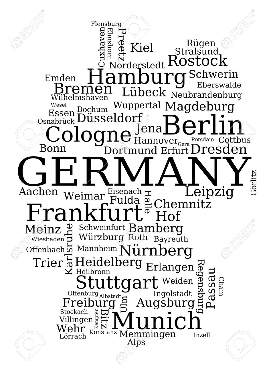 Map Of Germany Outline Made Of City Names German Concept - Germany map outline