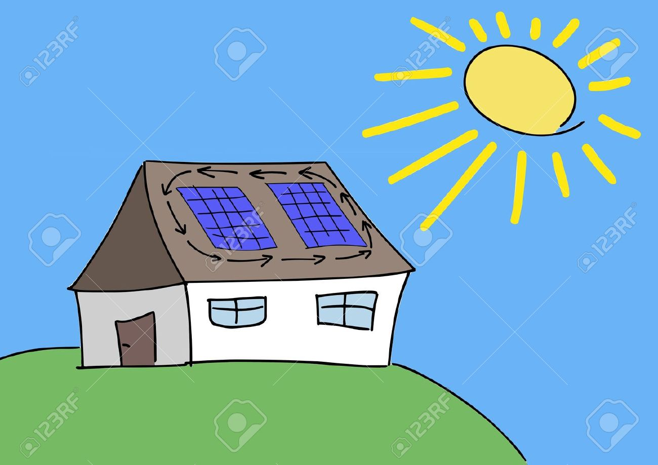 Doodle drawing - solar energy concept. Renewable sun power with photovoltaic cells on house roof. Stock Vector - 12858304