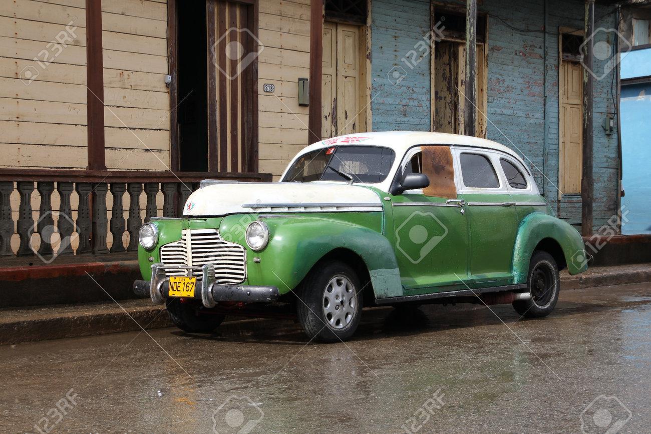 BARACOA, CUBA - FEBRUARY 14: Classic Old Car In The Street On ...