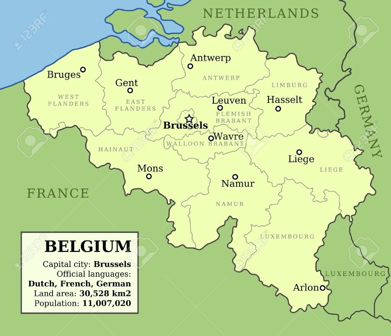 map of belgium with administrative division into provinces and country information data table stock vector