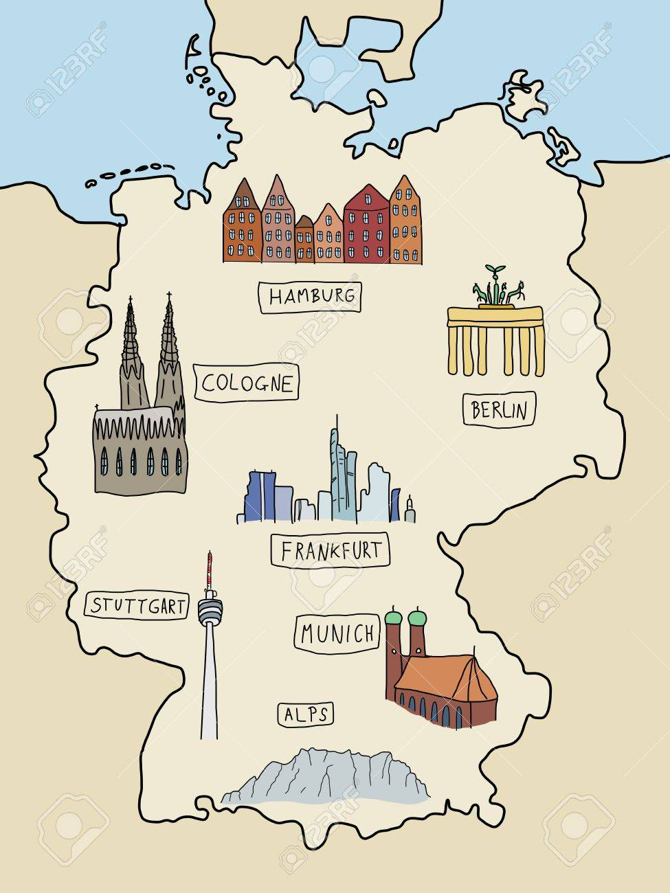 Germany Famous Places On A Doodle Map Berlin Hamburg Cologne