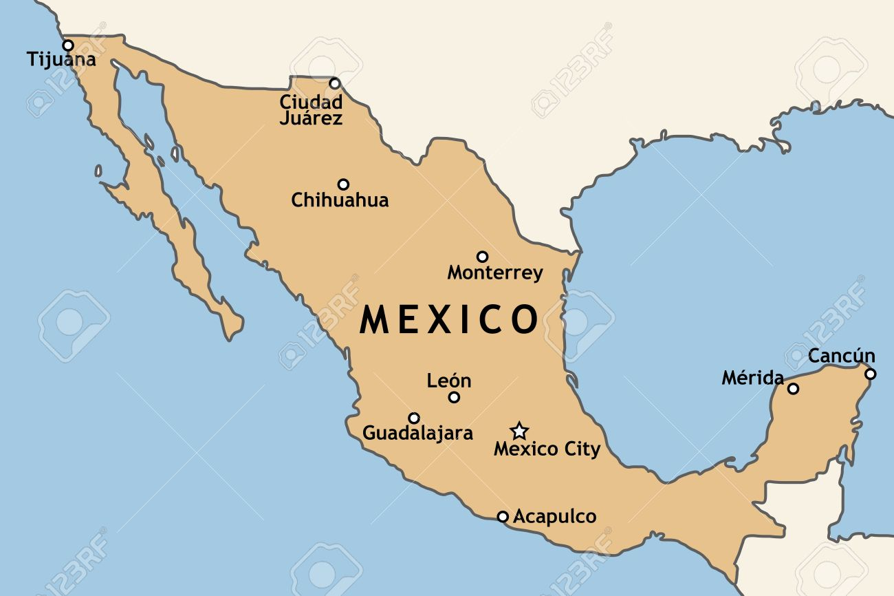 Mexico Map With Major Mexican Cities Mexico City Guadalajara – Map of Mexico Acapulco