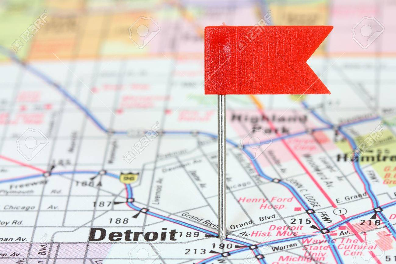 Detroit Michigan Red Flag Pin On An Old Map Showing Travel – Michigan Travel Map