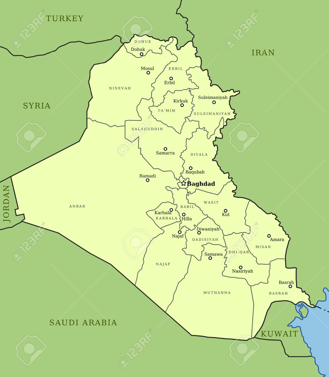 map of iraq with provinces governorates and major cities baghdad mosul