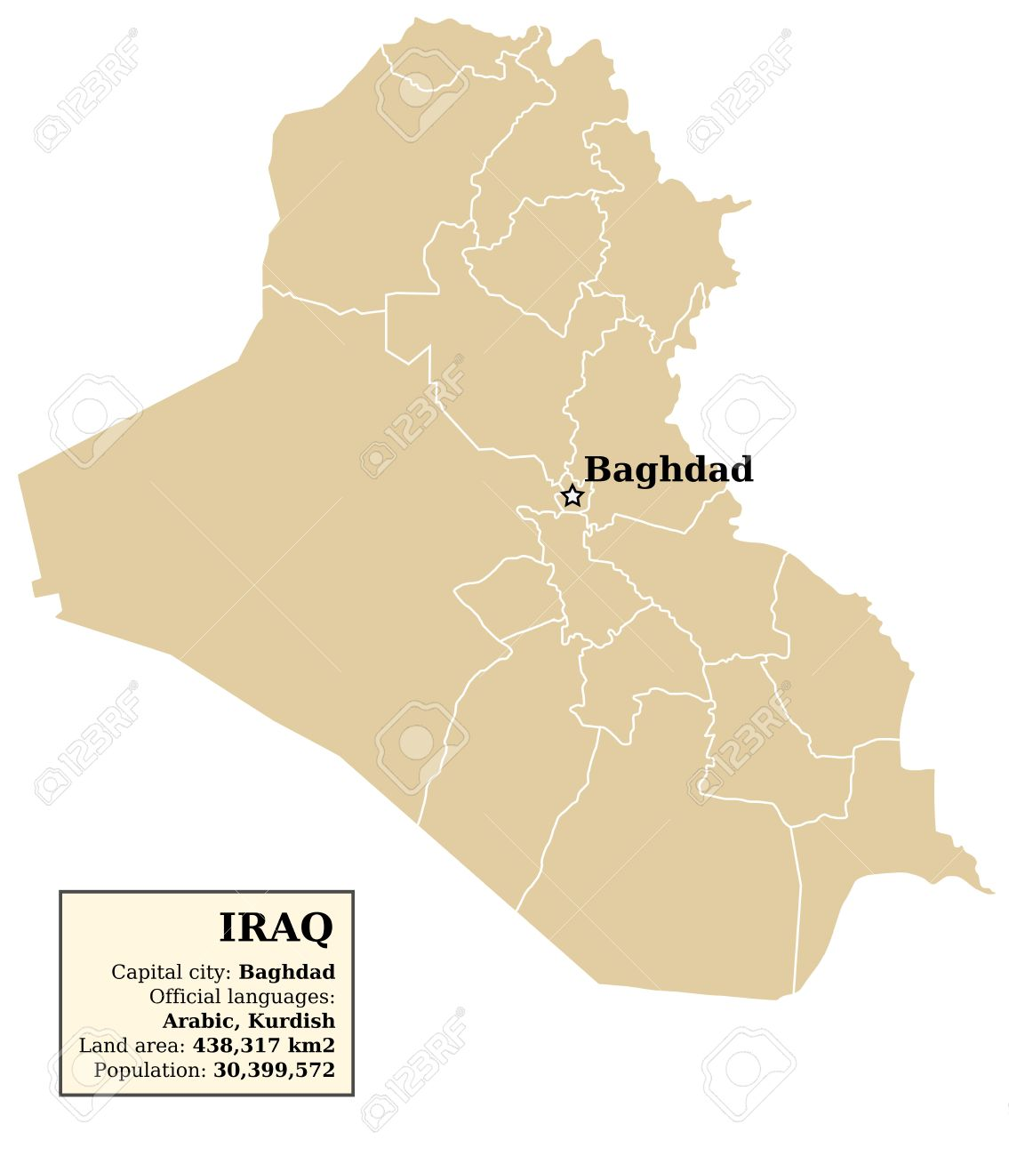 Iraq Map With Outlines Of Provinces governorates Royalty Free