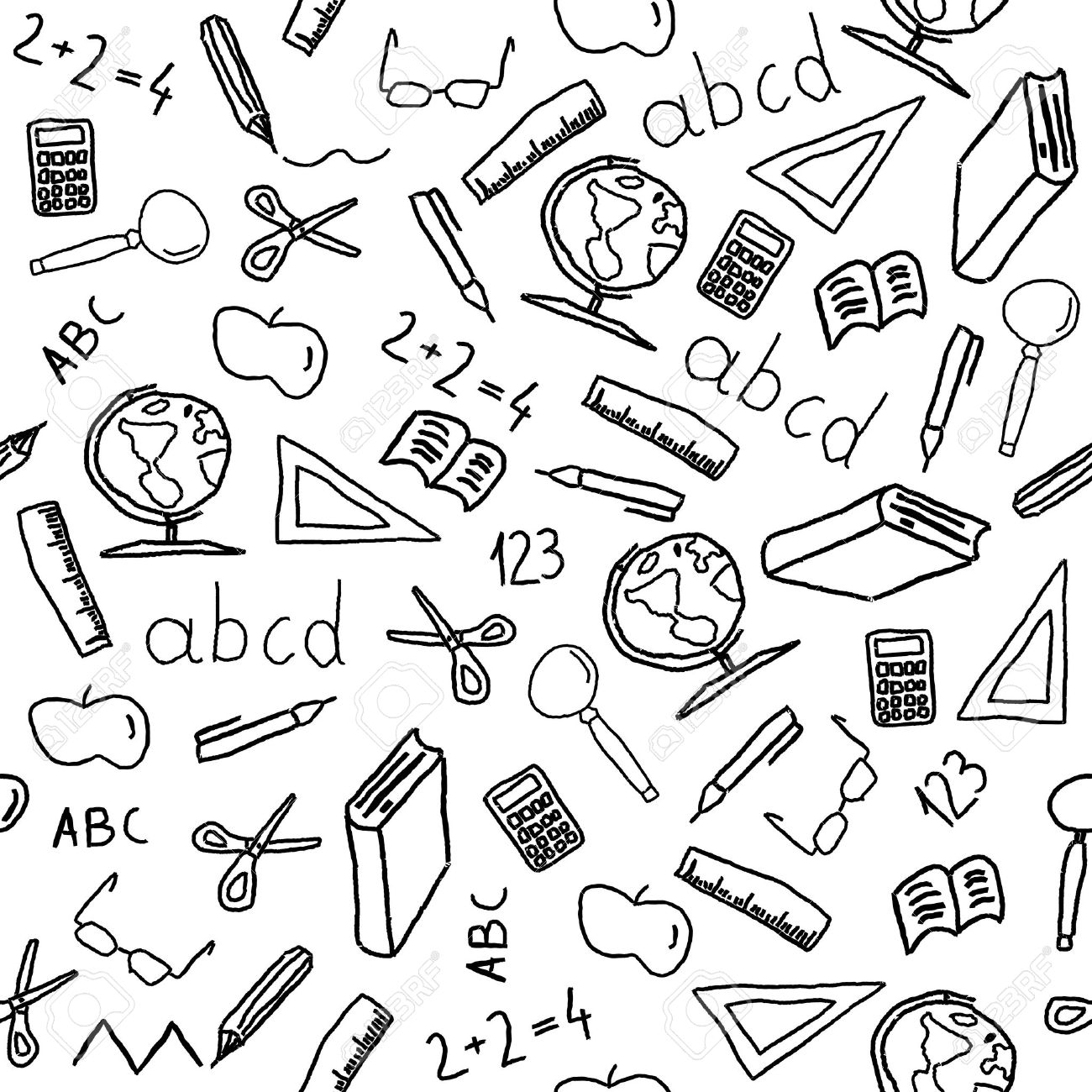 Seamless Background With School Object Icon And Symbols Education