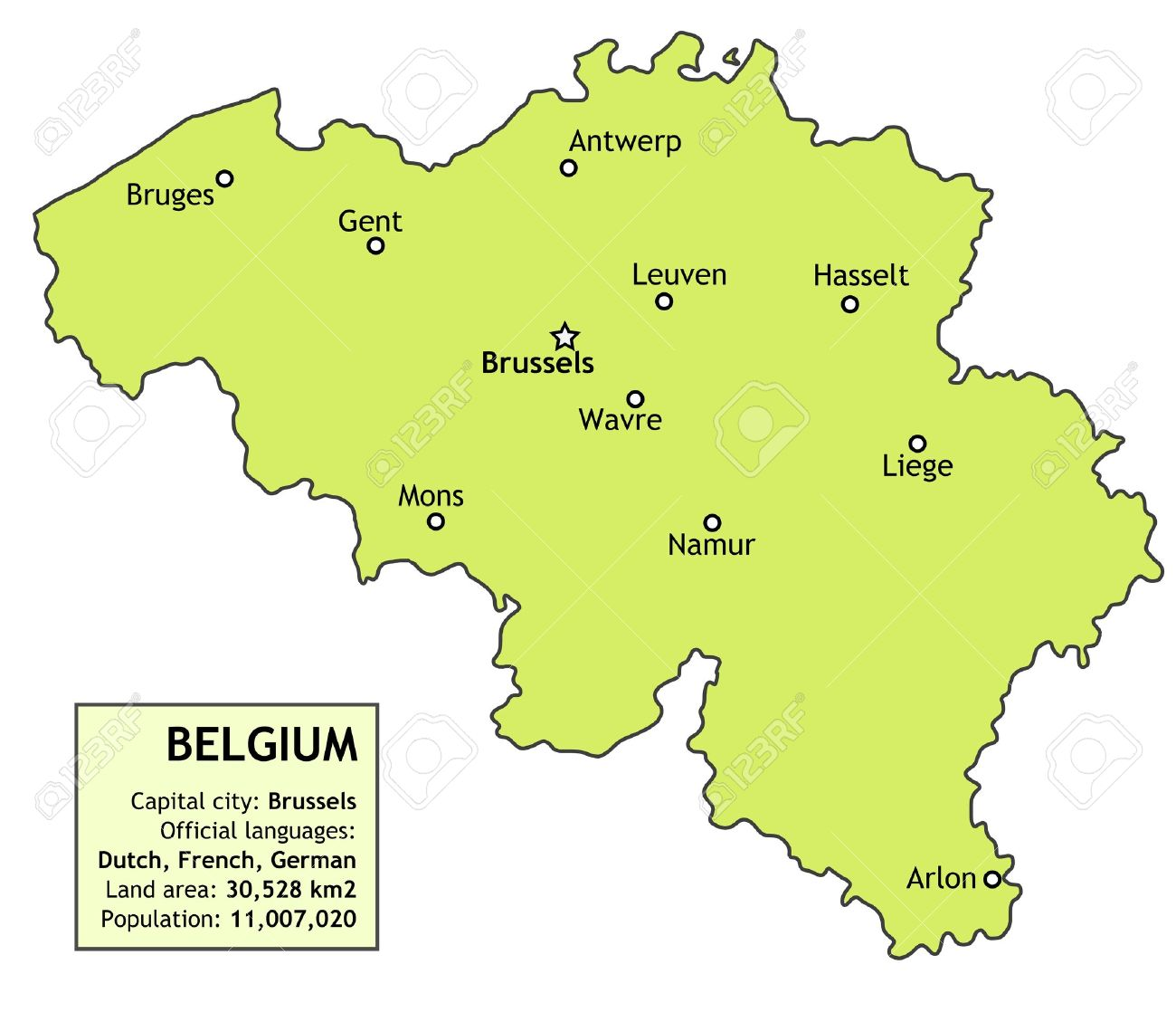 Belgium Map With Major Cities Brussels Antwerp Namur Liege