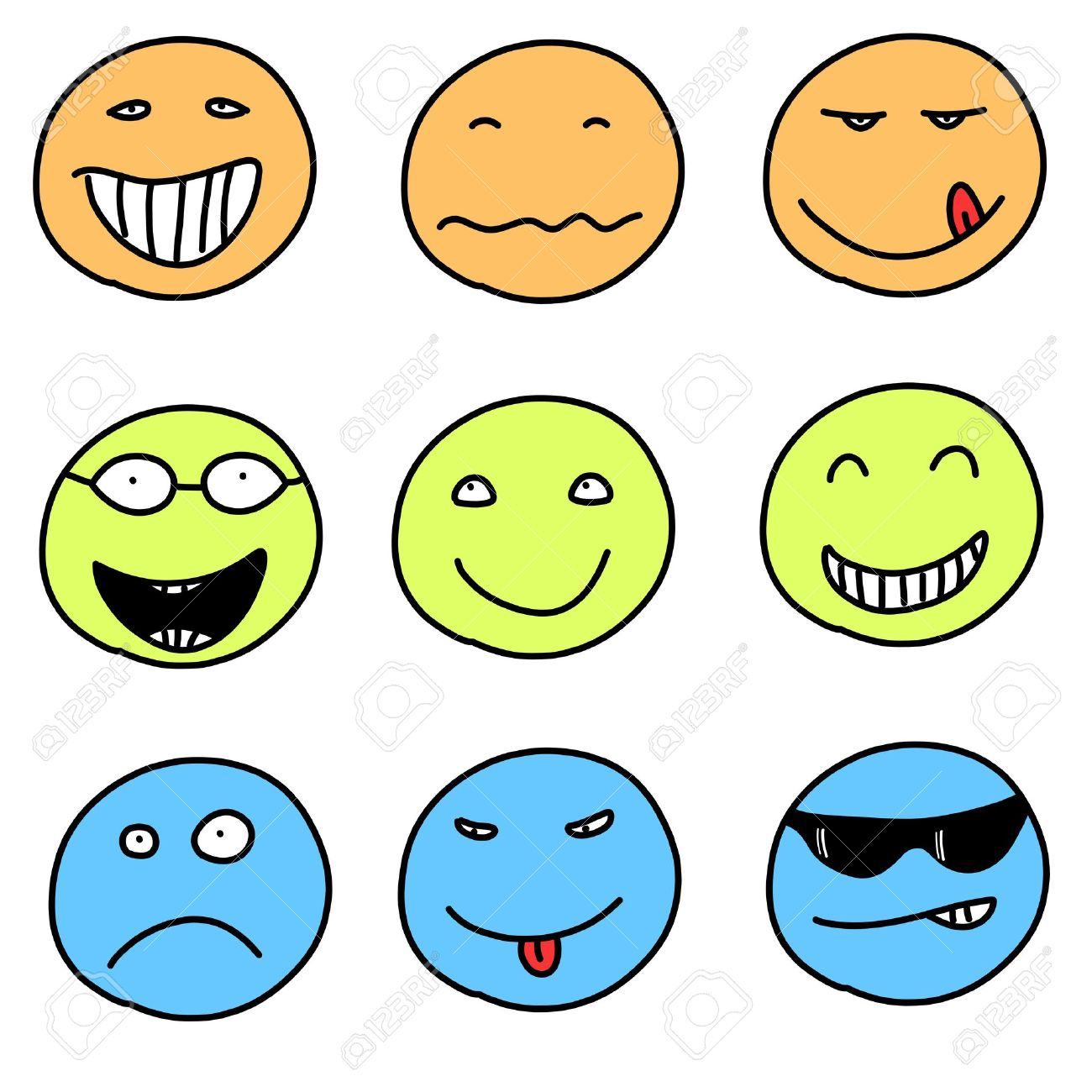 Smiley faces - doodle emoticon expressions. Happy, sad and confused balls. easily editable. Stock Vector - 15440088