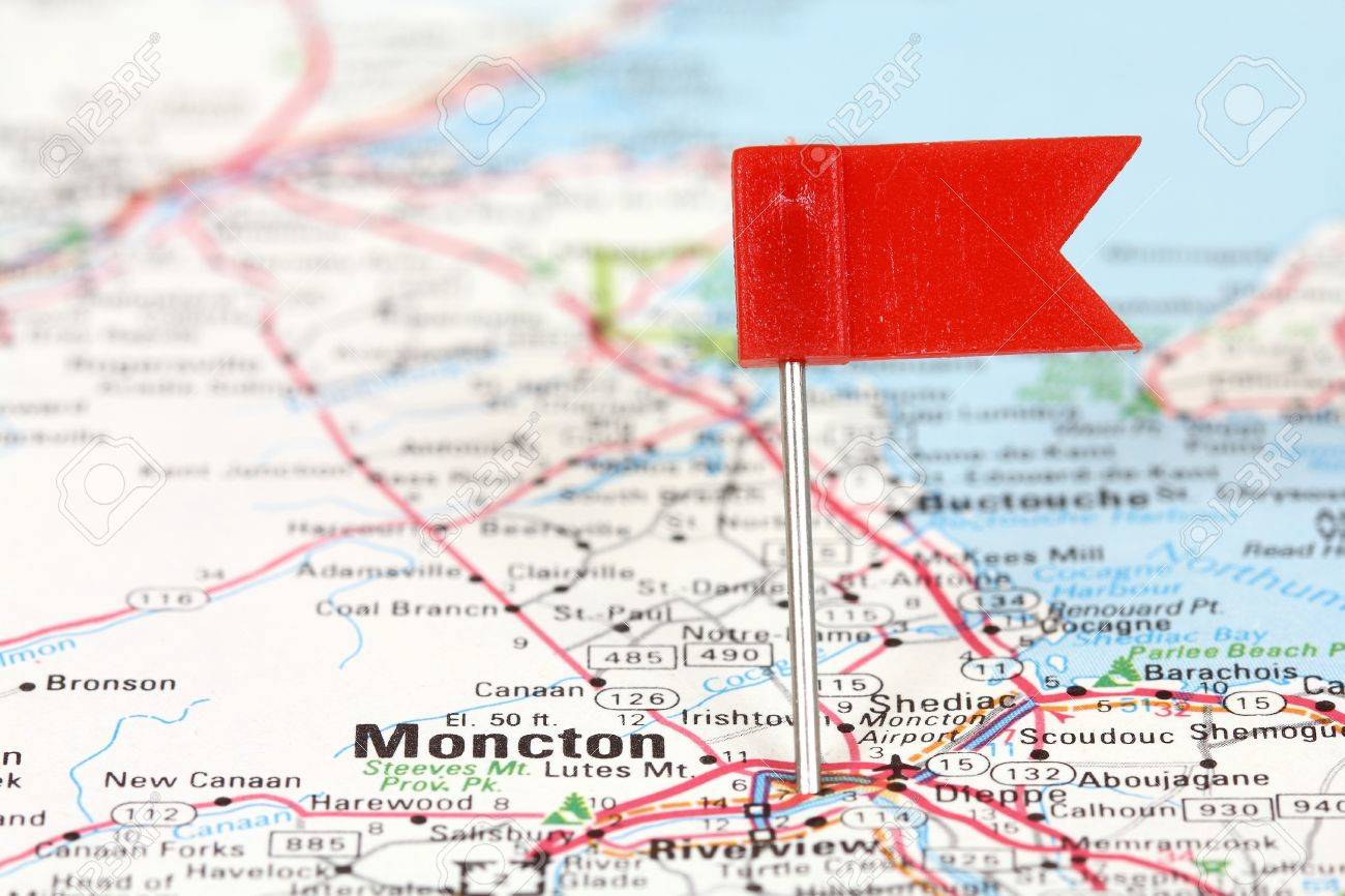 Moncton In New Brunswick Canada Red Flag Pin On An Old Map Stock