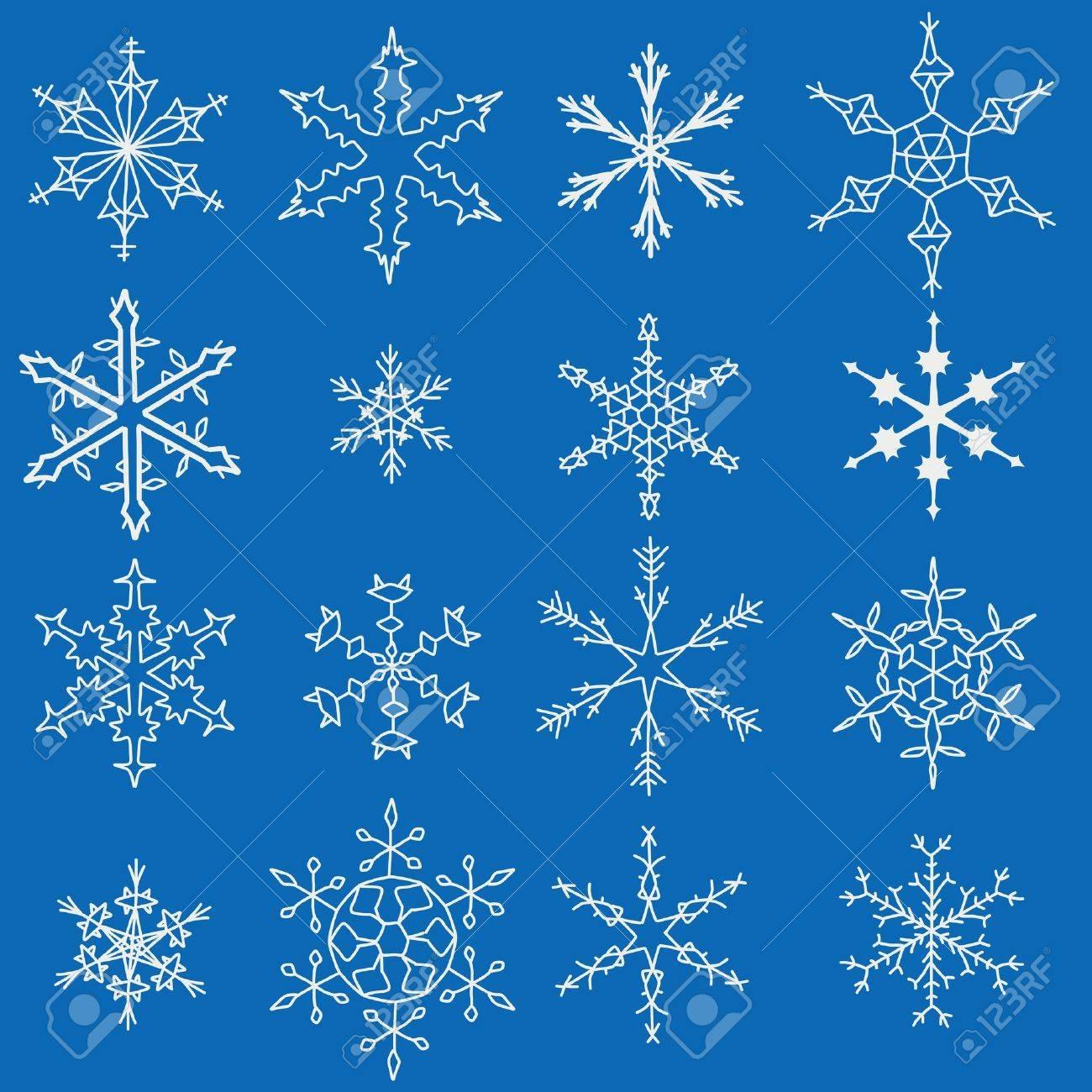 Snowflake winter icons. Set of snow flake symbols. Stock Vector - 15713947
