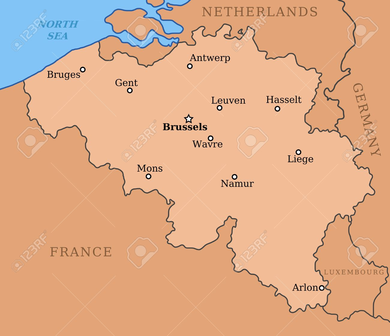 belgium map with major cities brussels mons antwerp liege and others stock