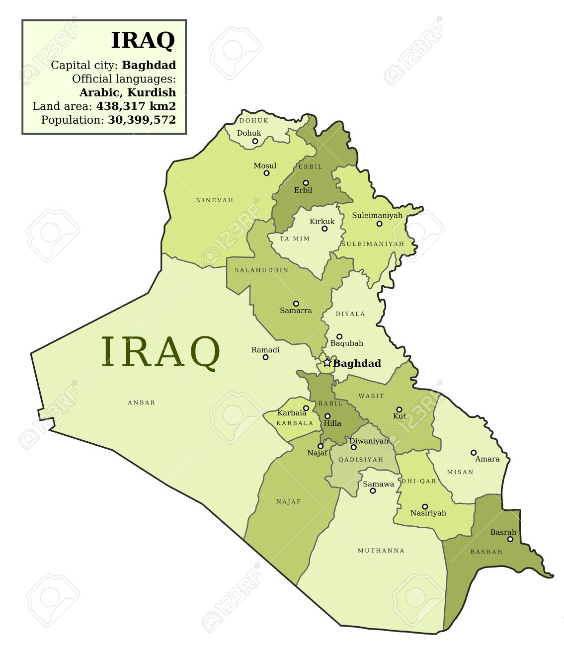 iraq map with provinces governorates in various colours and cities baghdad mosul