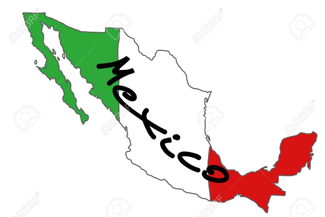 Map Of Mexico With Mexican Flag Colours Royalty Free Cliparts
