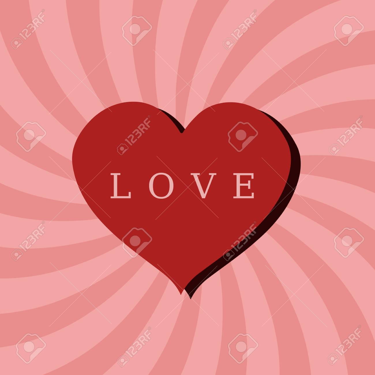 Romantic celebration background for Valentine's Day. Heart and concentric rays backdrop. Stock Vector - 16540468