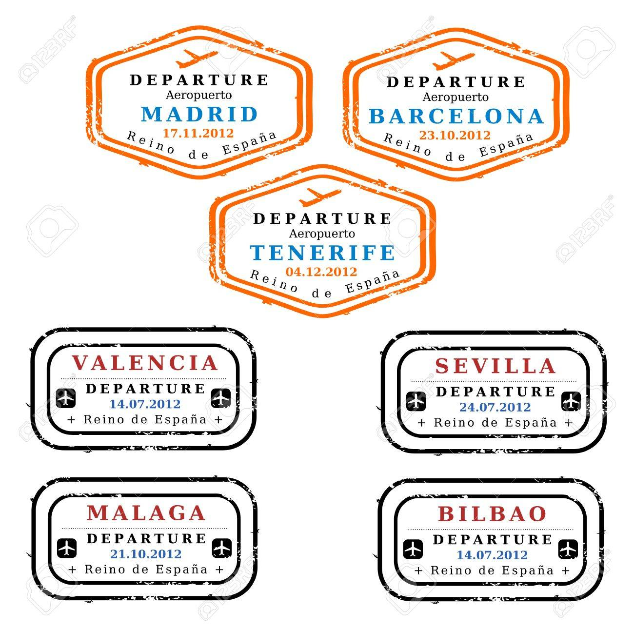 Travel stamps from Spain. Grungy stamps (not real). Spanish destinations: Madrid, Barcelona, Tenerife, Valencia, Seville, Malaga and Bilbao. Stock Vector - 16540512