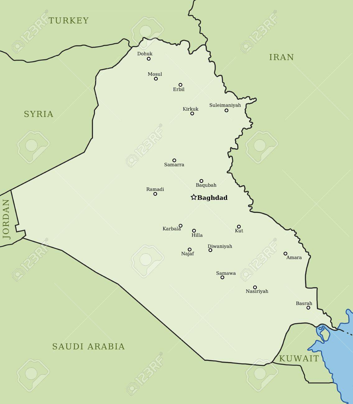 iraq map with major cities baghdad mosul basrah arbil and others stock